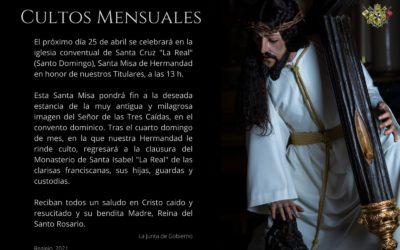 Solemnes Cultos Mensuales – Abril 2021